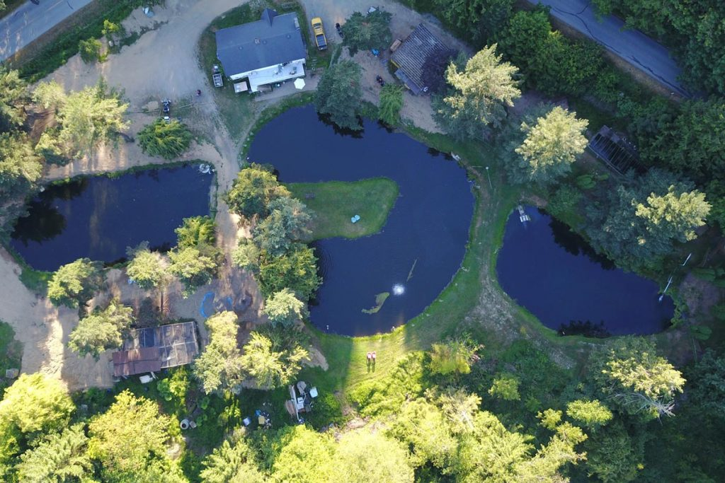 trout fish farm - overhead view of the fish ponds